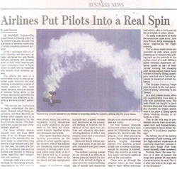 Wall Street Journal June 2015 APS UPRT Article on airline upset training